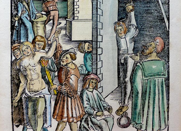 Holzschnitt aus der Bambergensis – Peinliche Befragung_kriminalmuseum