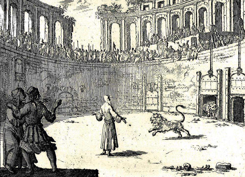 Kupferstich zur Damnatio ad Bestias